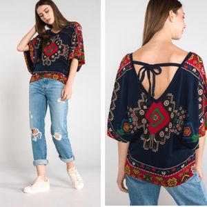 Desigual Paolina navy & bright colors printed top